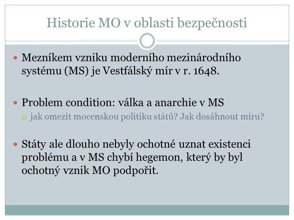 Historie MO v oblasti bezpečnosti Mezníkem vzniku moderního mezinárodního systému (MS) je Vestfálský mír v r.