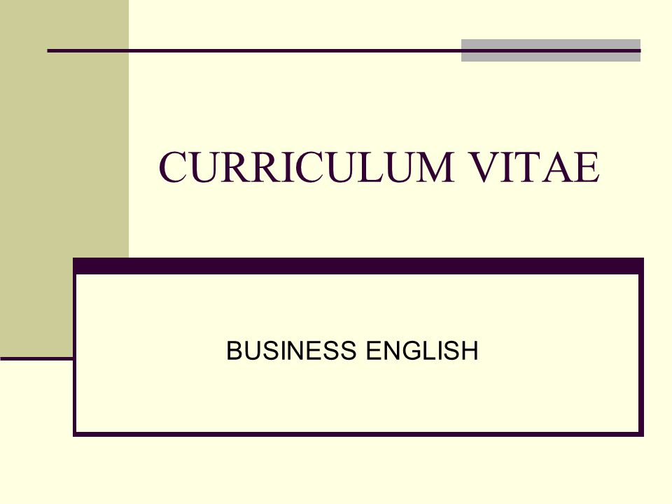 CURRICULUM VITAE BUSINESS ENGLISH