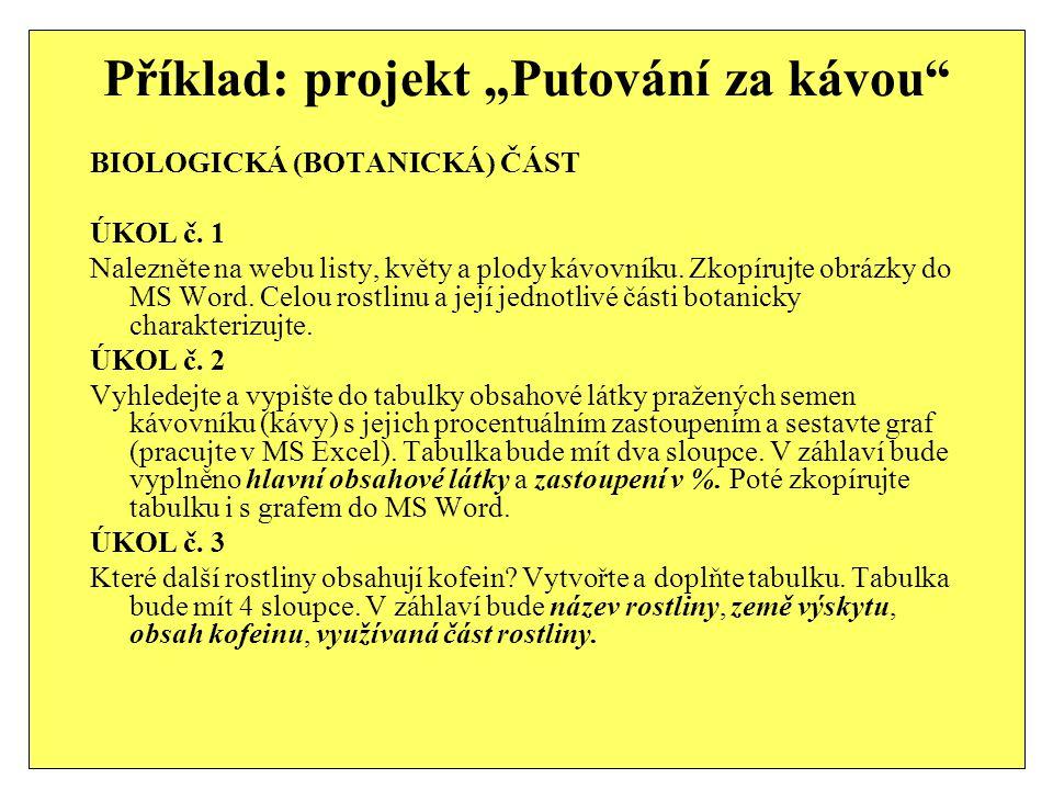 """Příklad: projekt """"Putování za kávou"""" BIOLOGICKÁ (BOTANICKÁ) ČÁST ÚKOL č. 1 Nalezněte na webu listy, květy a plody kávovníku. Zkopírujte obrázky do MS"""
