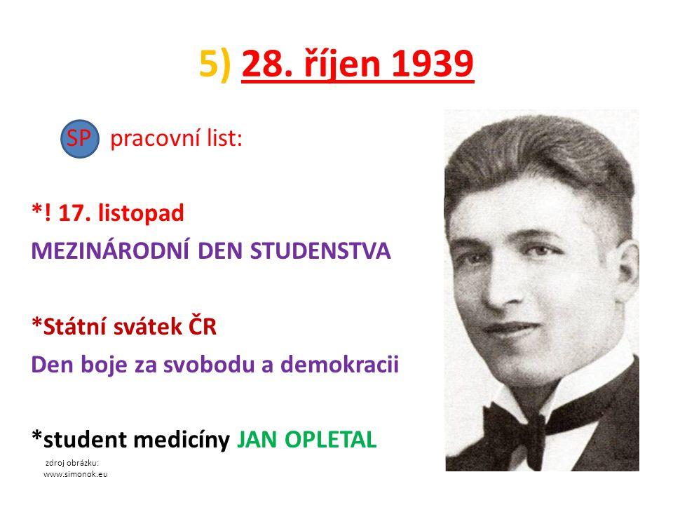 5) 28.říjen 1939 SP pracovní list: *. 17.