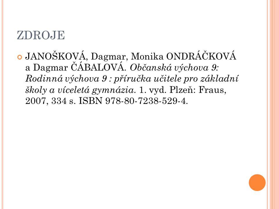 ZDROJE JANOŠKOVÁ, Dagmar, Monika ONDRÁČKOVÁ a Dagmar ČÁBALOVÁ.