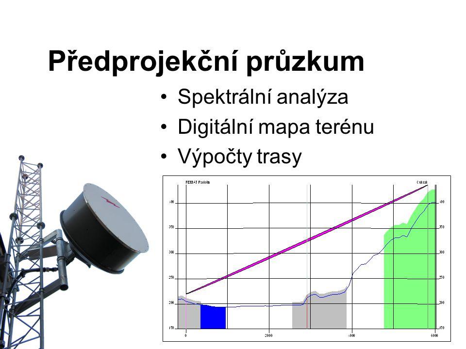 Předprojekční průzkum Spektrální analýza Digitální mapa terénu Výpočty trasy