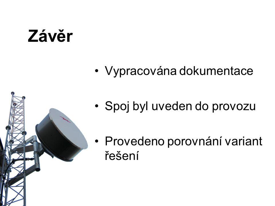 Závěr Vypracována dokumentace Spoj byl uveden do provozu Provedeno porovnání variant řešení