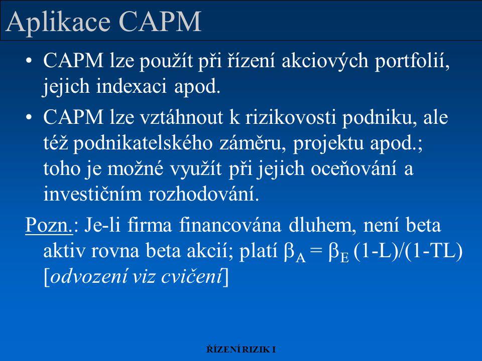 ŘÍZENÍ RIZIK I Aplikace CAPM CAPM lze použít při řízení akciových portfolií, jejich indexaci apod. CAPM lze vztáhnout k rizikovosti podniku, ale též p