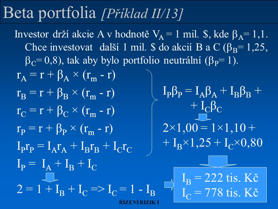 ŘÍZENÍ RIZIK I Beta portfolia [Příklad II/13] r A = r + β A × (r m - r) r B = r + β B × (r m - r) r C = r + β C × (r m - r) r P = r + β P × (r m - r)