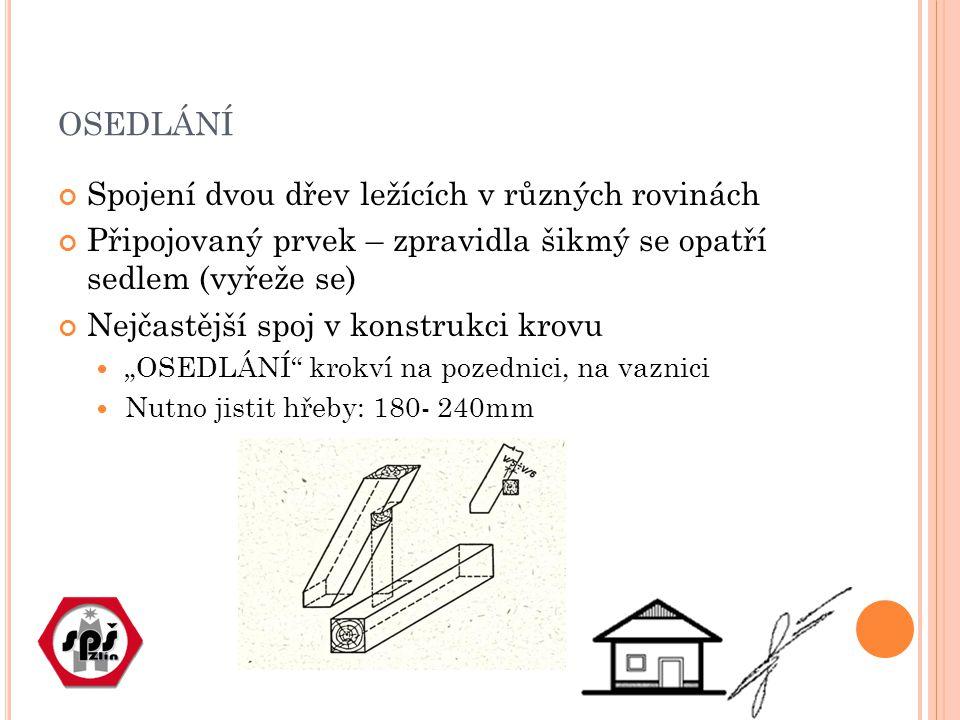 """OSEDLÁNÍ Spojení dvou dřev ležících v různých rovinách Připojovaný prvek – zpravidla šikmý se opatří sedlem (vyřeže se) Nejčastější spoj v konstrukci krovu """"OSEDLÁNÍ krokví na pozednici, na vaznici Nutno jistit hřeby: 180- 240mm"""