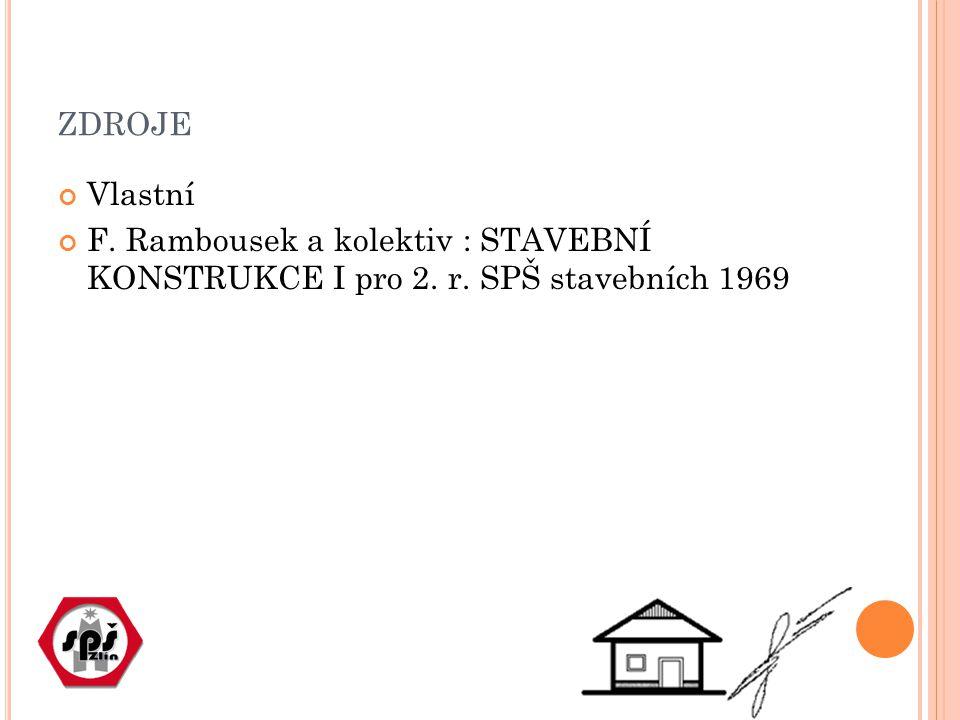 ZDROJE Vlastní F. Rambousek a kolektiv : STAVEBNÍ KONSTRUKCE I pro 2. r. SPŠ stavebních 1969