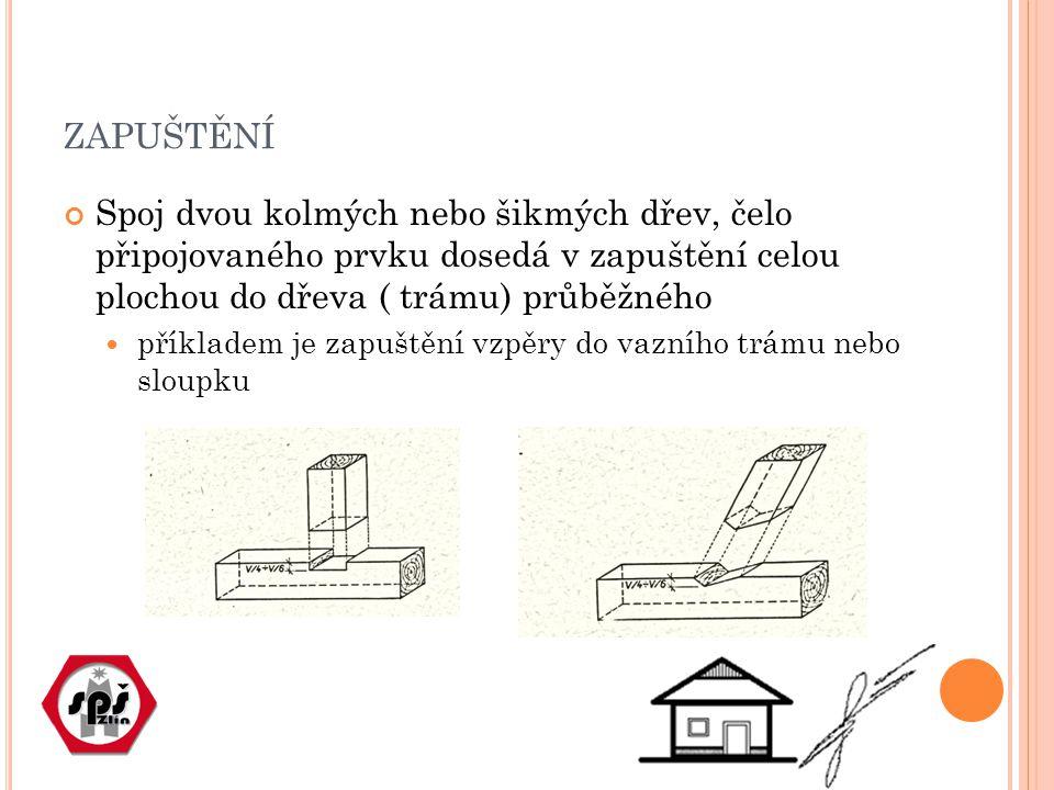 L ÍPNUTÍ Jednoduchý spoj dvou kolmých nebo šikmých dřev.