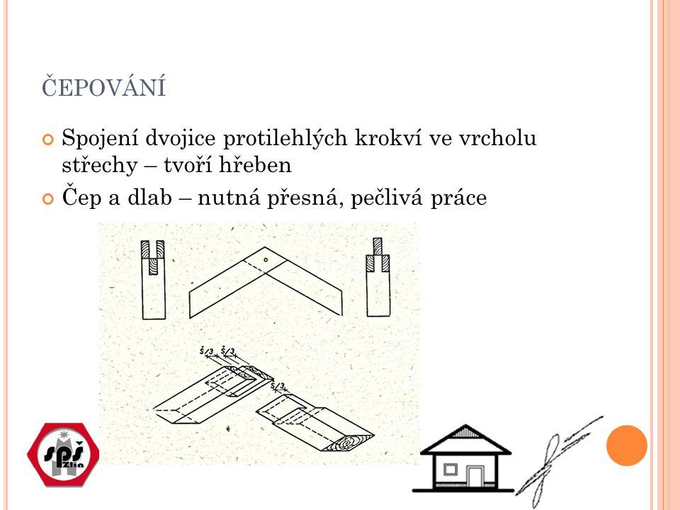 ČEPOVÁNÍ Spojení dvojice protilehlých krokví ve vrcholu střechy – tvoří hřeben Čep a dlab – nutná přesná, pečlivá práce