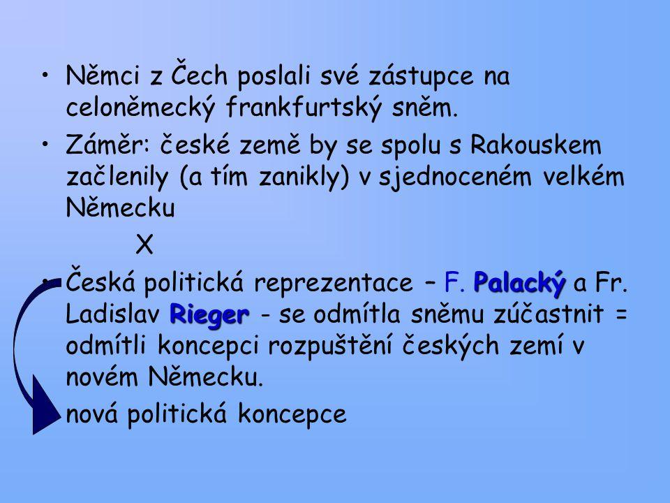 Němci z Čech poslali své zástupce na celoněmecký frankfurtský sněm. Záměr: české země by se spolu s Rakouskem začlenily (a tím zanikly) v sjednoceném