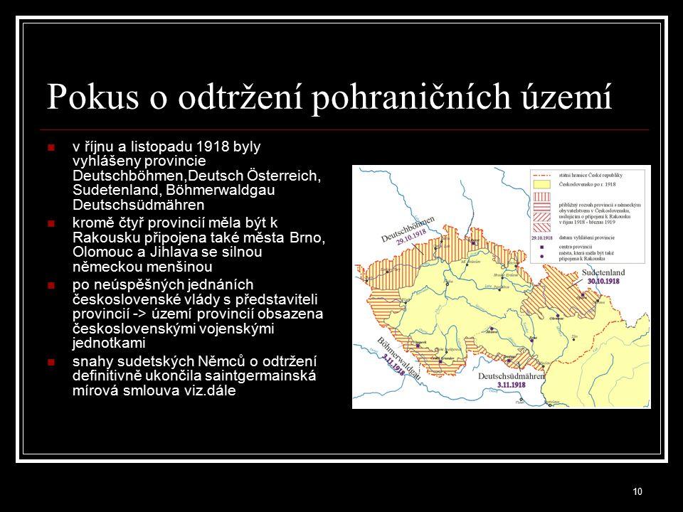11 Mírová konference v Paříži (1919-1920) Československou delegaci vedli K.Kramář a E.Beneš schválení vyhlášení Československé republiky, rozprostírající se na území historických zemí Koruny české (Čech, Moravy a Slezska) a Horních Uher (Slovensko a Podkarpatská Rus) Versailleská mírová smlouva oficiálně ukončila první světovou válku, Německo přijalo plnou odpovědnost za vypuknutí války, definice poválečných hranic evropských států -> Hlučínsko připadla ČSR (316 nebo 333 km² a 49 000 obyvatel).