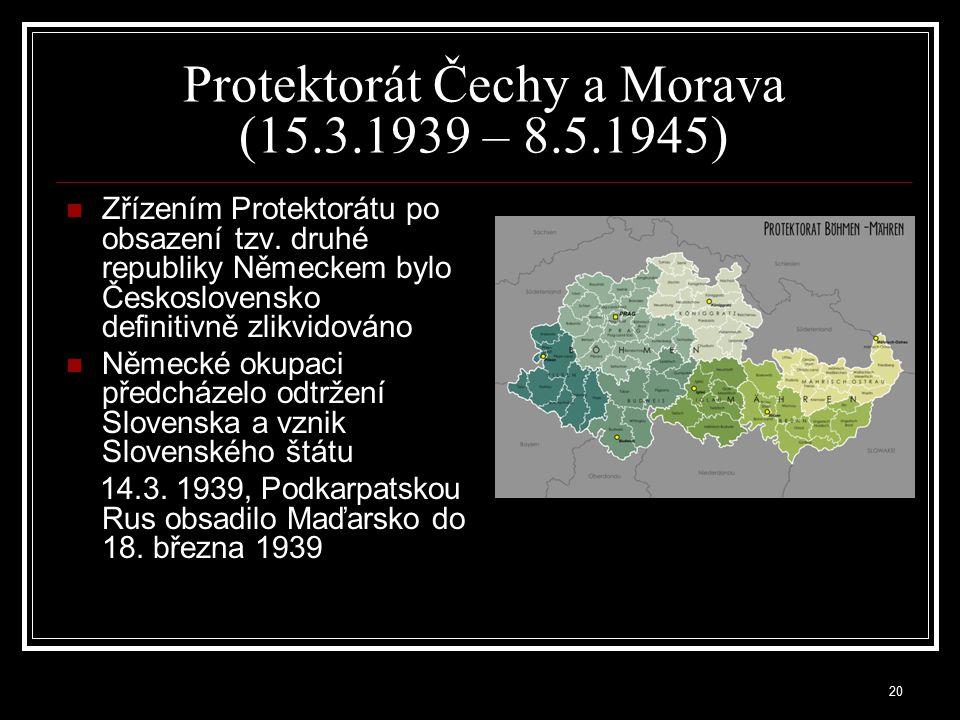 """21 Slovenský štát (1939 – 1945) byl státní útvar vyhlášený """"Sněmem Slovenské země v Bratislavě dne 14.3.1939 130.000 Čechů vyhnáno ze Slovenska do nitra Čech a Moravy Prvním prezidentem Slovenského štátu se stal dne 26.10.1939 Dr.Josef Tiso a byl jím až do jeho zániku v roce 1945 vládnoucí politickou strankou byla Hlinkova slovenská ľudová strana (HSĽS), v jejímž čele byl katolický kněz Jozef Tiso velkou moc měl premiér Vojtěch Tuka, který byl Tisovy proti jeho vůli vnucen Německem, který vyhlásil válku Sovětskému svazu a kdo prosazoval konečné řešení židovské otázky na Slovensku"""