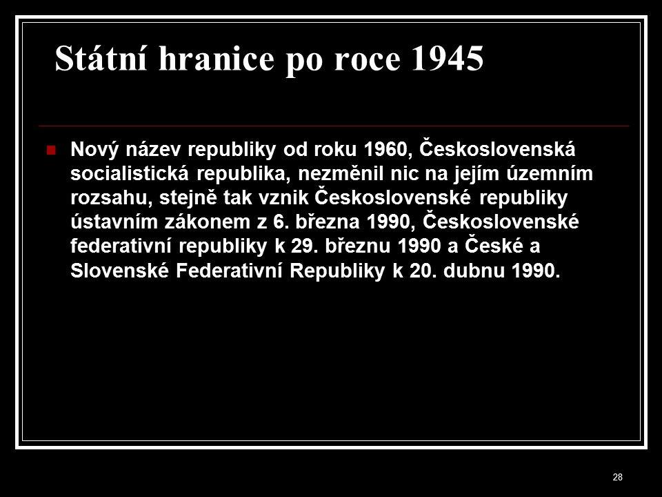 29 Třetí republika (1945-1948) po skončení války v podstatná část obyvatel, 3 až 4 miliony, německé a maďarské národnosti, byla odsunuta na základě Benešových dekretů a se souhlasem spojenců první vlna znárodnění samostatnost poválečné ČSR byla oslabena závislost na Sovětském svazu 1946 první poválečné parlamentní volby vyhrála v Česku se ziskem 40 % hlasů KSČ,národní socialisté 24 %, lidová strana s 20 % a na posledním místě sociální demokraté (15 %).