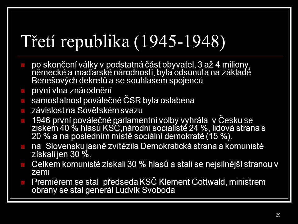 30 Únor 1948 Komunistický puč dovršený 25.2.1948 vedl k převzetí veškeré moci KSČ po r.