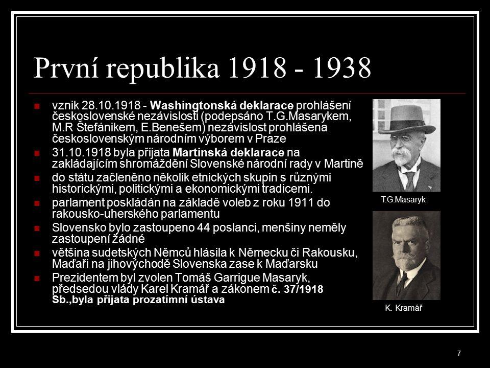 8 Národní výbor vznikl 13.července 1918 nejvyšší politická autorita, složená z vůdců všech čsl.