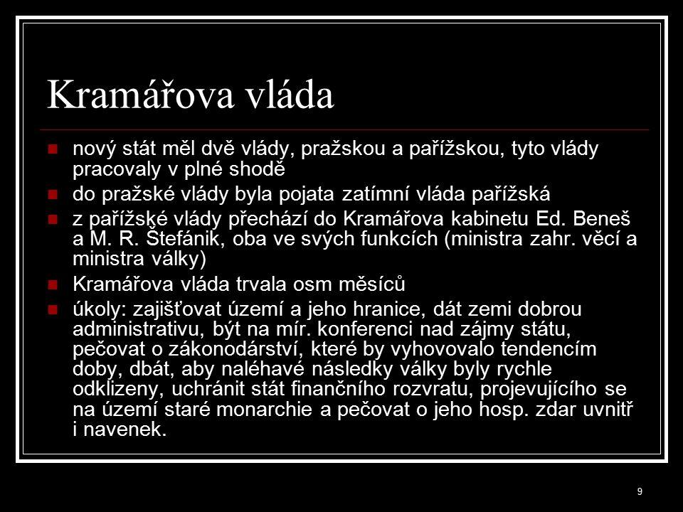 10 Pokus o odtržení pohraničních území v říjnu a listopadu 1918 byly vyhlášeny provincie Deutschböhmen,Deutsch Österreich, Sudetenland, Böhmerwaldgau Deutschsüdmähren kromě čtyř provincií měla být k Rakousku připojena také města Brno, Olomouc a Jihlava se silnou německou menšinou po neúspěšných jednáních československé vlády s představiteli provincií -> území provincií obsazena československými vojenskými jednotkami snahy sudetských Němců o odtržení definitivně ukončila saintgermainská mírová smlouva viz.dále