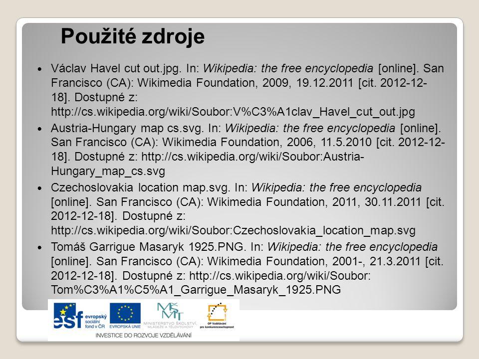 Použité zdroje Václav Havel cut out.jpg. In: Wikipedia: the free encyclopedia [online]. San Francisco (CA): Wikimedia Foundation, 2009, 19.12.2011 [ci