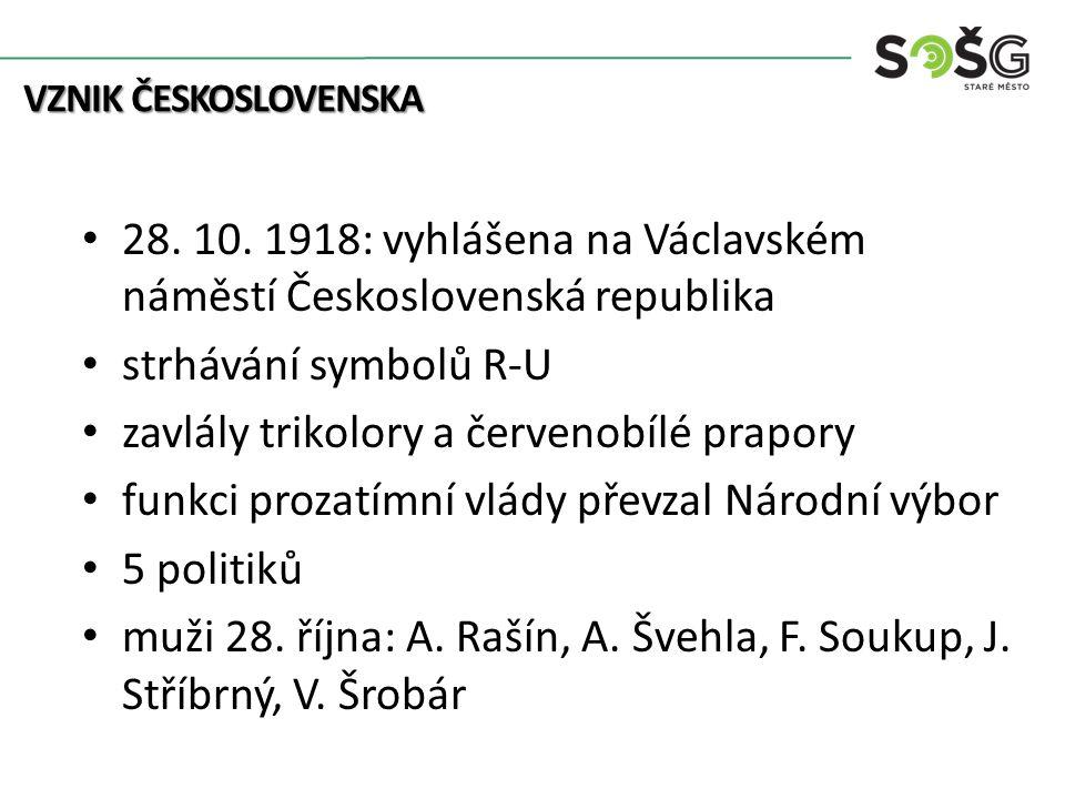 VZNIK ČESKOSLOVENSKA 28. 10.