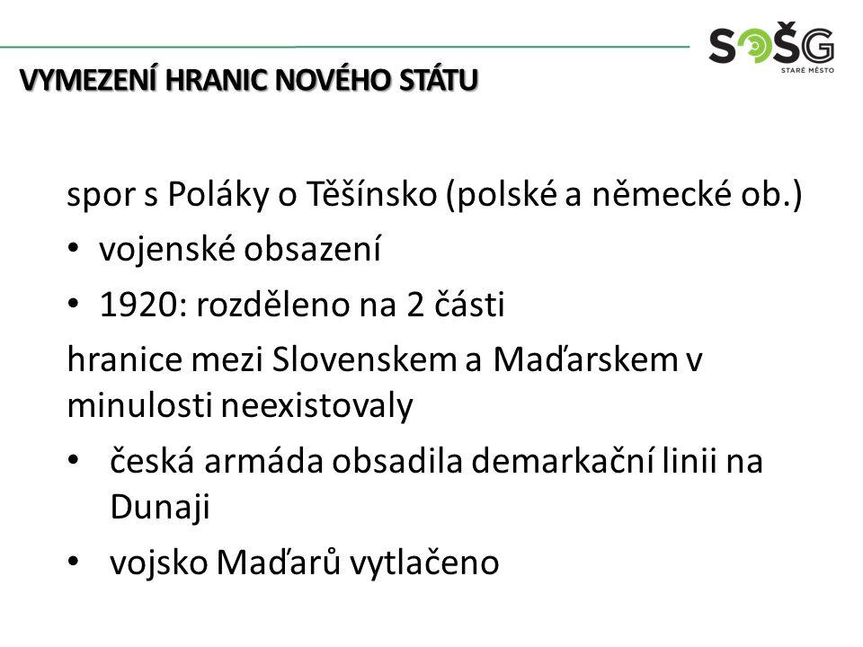 spor s Poláky o Těšínsko (polské a německé ob.) vojenské obsazení 1920: rozděleno na 2 části hranice mezi Slovenskem a Maďarskem v minulosti neexistov
