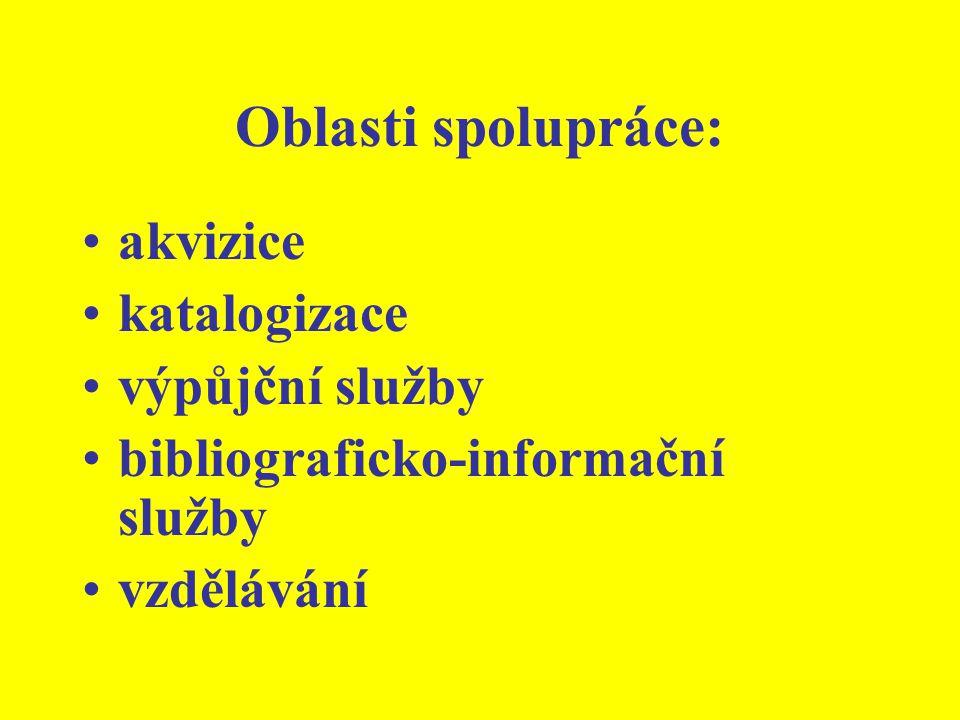 Oblasti spolupráce: akvizice katalogizace výpůjční služby bibliograficko-informační služby vzdělávání