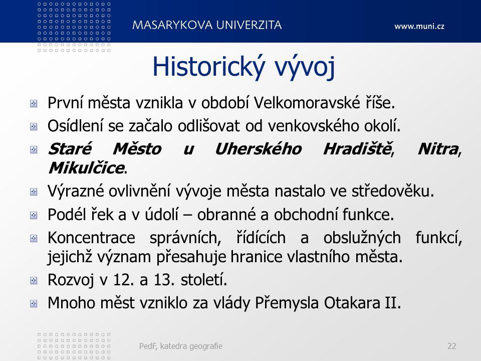 PedF, katedra geografie22 Historický vývoj První města vznikla v období Velkomoravské říše. Osídlení se začalo odlišovat od venkovského okolí. Staré M