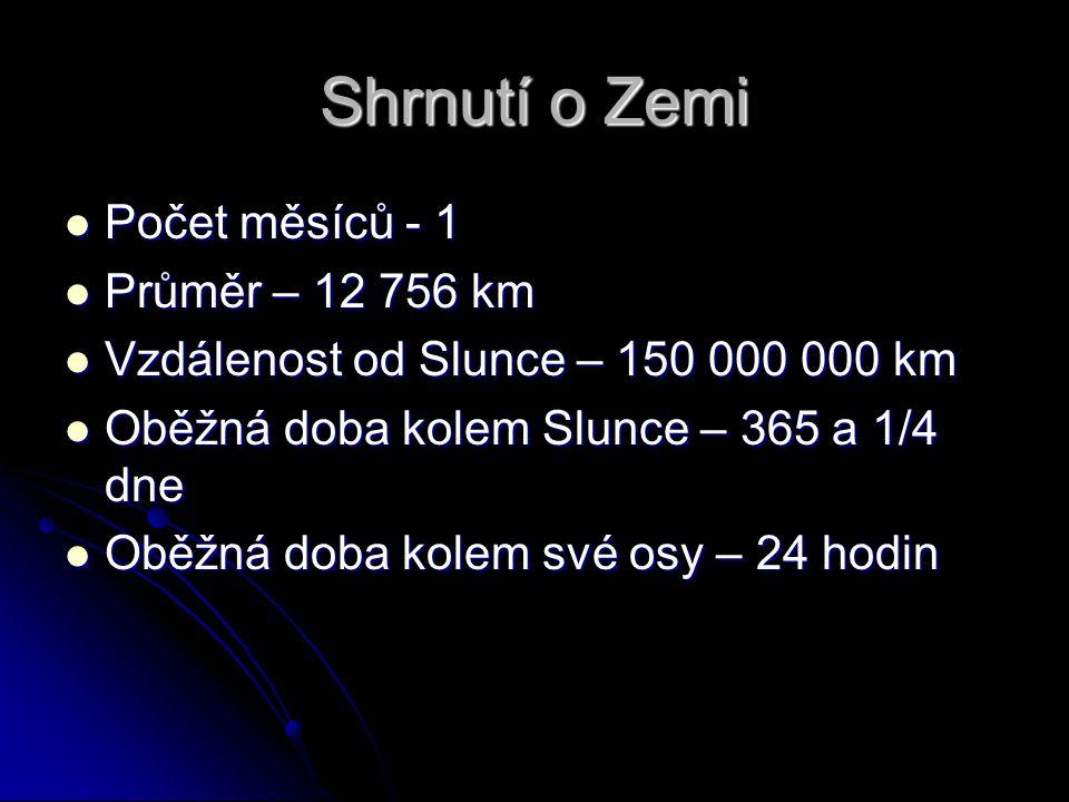 Shrnutí o Zemi Počet měsíců - 1 Počet měsíců - 1 Průměr – 12 756 km Průměr – 12 756 km Vzdálenost od Slunce – 150 000 000 km Vzdálenost od Slunce – 15