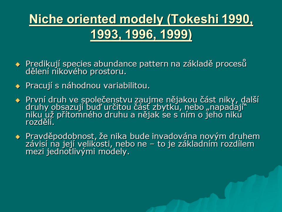 Niche oriented modely (Tokeshi 1990, 1993, 1996, 1999)  Predikují species abundance pattern na základě procesů dělení nikového prostoru.