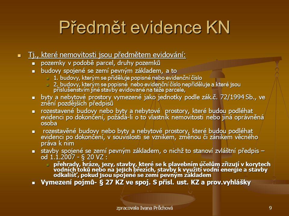 zpracovala Ivana Průchová9 Předmět evidence KN Tj., které nemovitosti jsou předmětem evidování: Tj., které nemovitosti jsou předmětem evidování: pozem