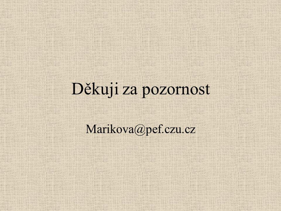 Děkuji za pozornost Marikova@pef.czu.cz