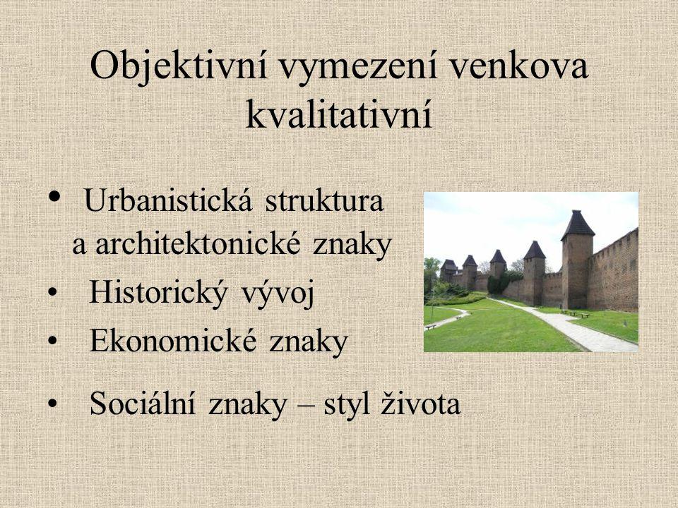 Objektivní vymezení venkova kvalitativní Urbanistická struktura a architektonické znaky Historický vývoj Ekonomické znaky Sociální znaky – styl života