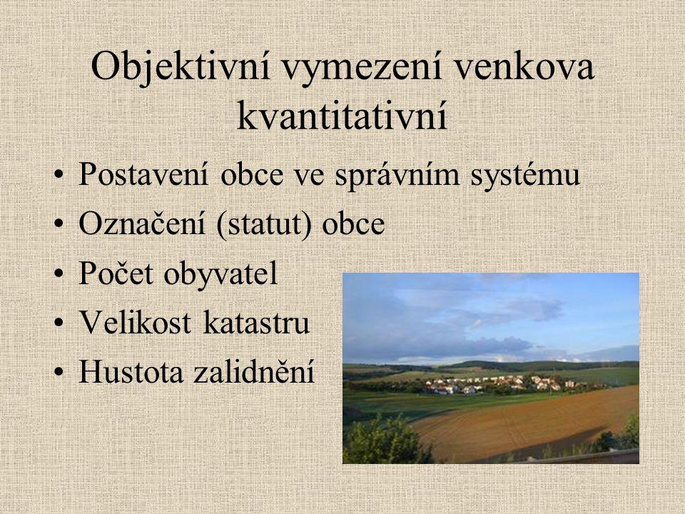 Objektivní vymezení venkova kvantitativní Postavení obce ve správním systému Označení (statut) obce Počet obyvatel Velikost katastru Hustota zalidnění