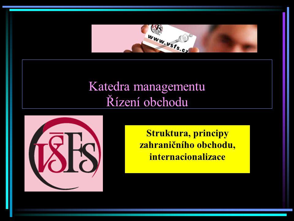 Katedra managementu Řízení obchodu Struktura, principy zahraničního obchodu, internacionalizace