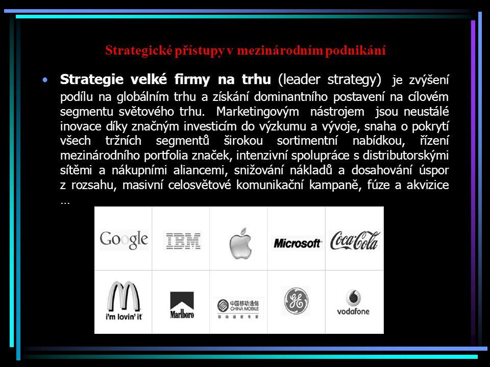 Strategické přístupy v mezinárodním podnikání Strategie velké firmy na trhu (leader strategy) je zvýšení podílu na globálním trhu a získání dominantního postavení na cílovém segmentu světového trhu.