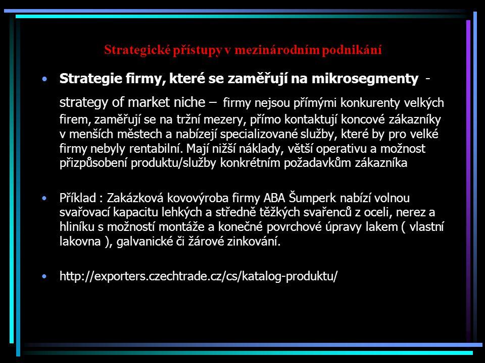 Strategické přístupy v mezinárodním podnikání Strategie firmy, které se zaměřují na mikrosegmenty - strategy of market niche – firmy nejsou přímými konkurenty velkých firem, zaměřují se na tržní mezery, přímo kontaktují koncové zákazníky v menších městech a nabízejí specializované služby, které by pro velké firmy nebyly rentabilní.