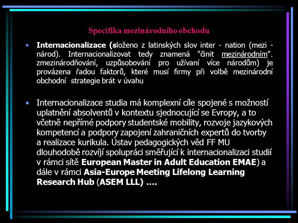 Specifika mezinárodního obchodu Internacionalizace (složeno z latinských slov inter - nation (mezi - národ).
