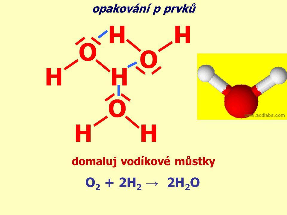 O 2 + 2H 2 → 2H 2 O O HH O H H O HH opakování p prvků domaluj vodíkové můstky