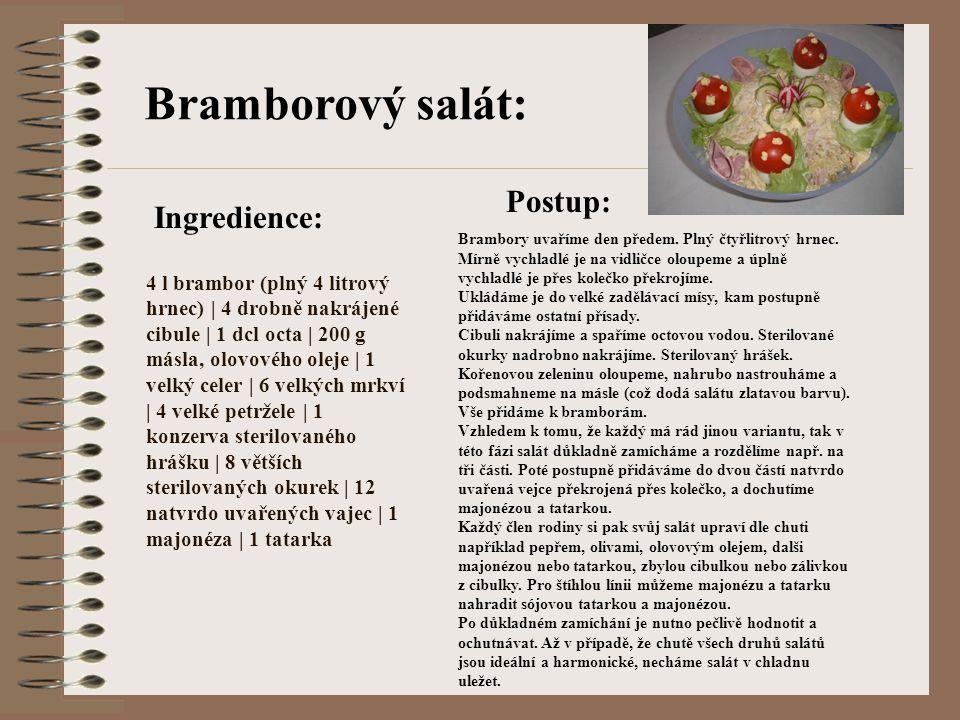 Bramborový salát: 4 l brambor (plný 4 litrový hrnec) | 4 drobně nakrájené cibule | 1 dcl octa | 200 g másla, olovového oleje | 1 velký celer | 6 velký