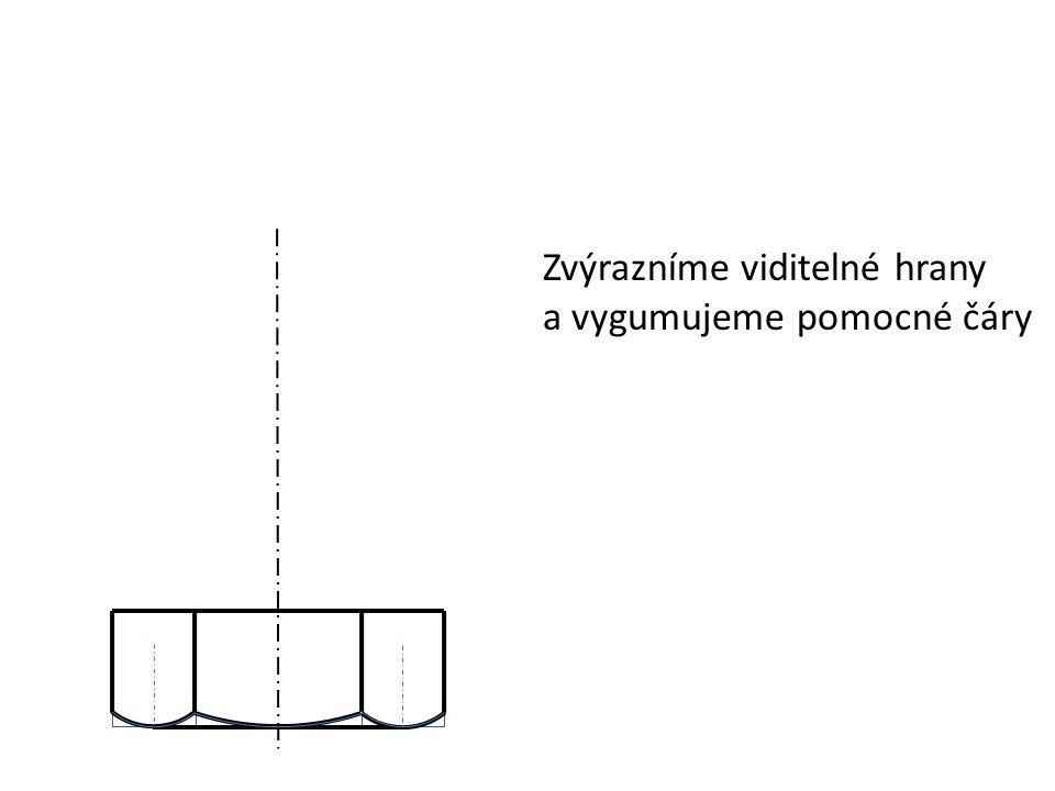 Zvýrazníme viditelné hrany a vygumujeme pomocné čáry