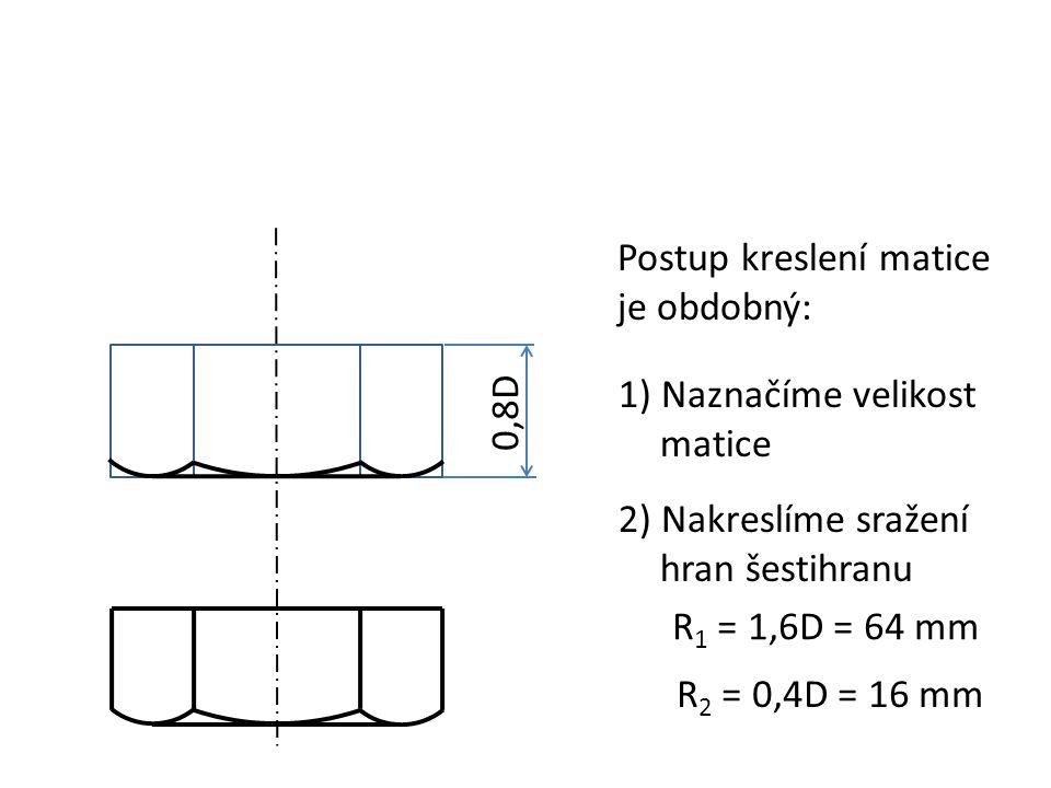 Postup kreslení matice je obdobný: 1) Naznačíme velikost matice 0,8D 2) Nakreslíme sražení hran šestihranu R 1 = 1,6D = 64 mm R 2 = 0,4D = 16 mm