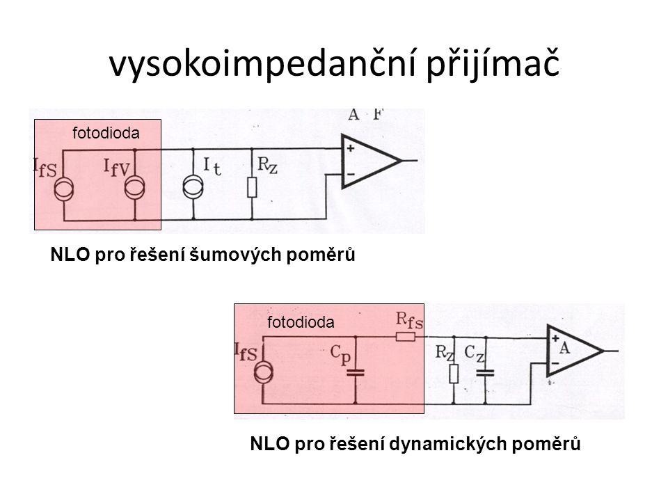 vysokoimpedanční přijímač NLO pro řešení šumových poměrů NLO pro řešení dynamických poměrů fotodioda