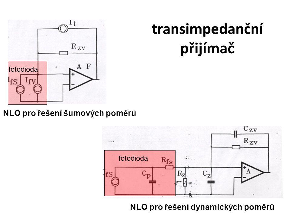transimpedanční přijímač NLO pro řešení šumových poměrů NLO pro řešení dynamických poměrů fotodioda