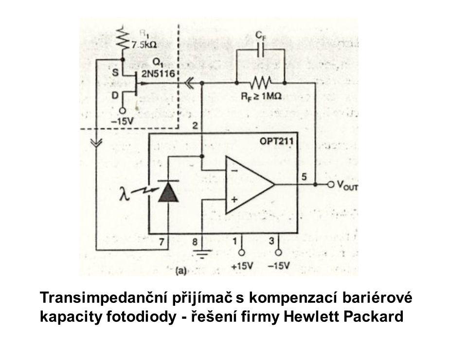 Transimpedanční přijímač s kompenzací bariérové kapacity fotodiody - řešení firmy Hewlett Packard