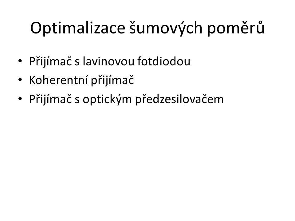Optimalizace šumových poměrů Přijímač s lavinovou fotdiodou Koherentní přijímač Přijímač s optickým předzesilovačem