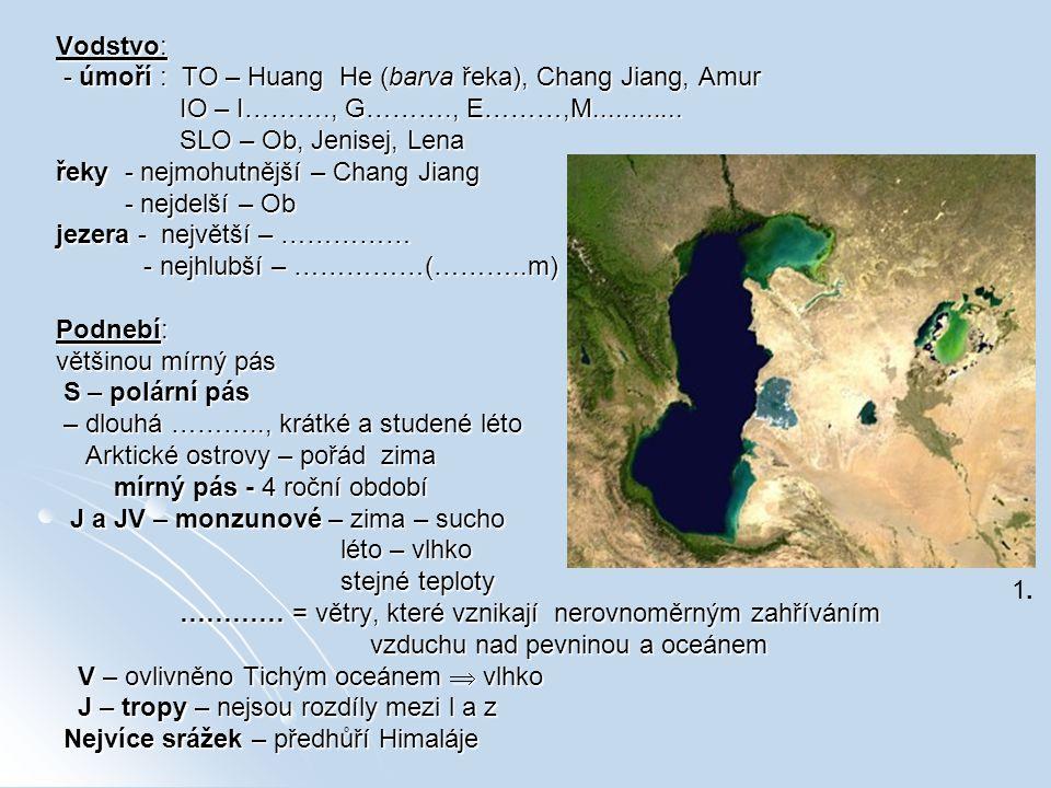 Vodstvo: - úmoří : TO – Huang He (barva řeka), Chang Jiang, Amur - úmoří : TO – Huang He (barva řeka), Chang Jiang, Amur IO – I………., G………., E………,M....