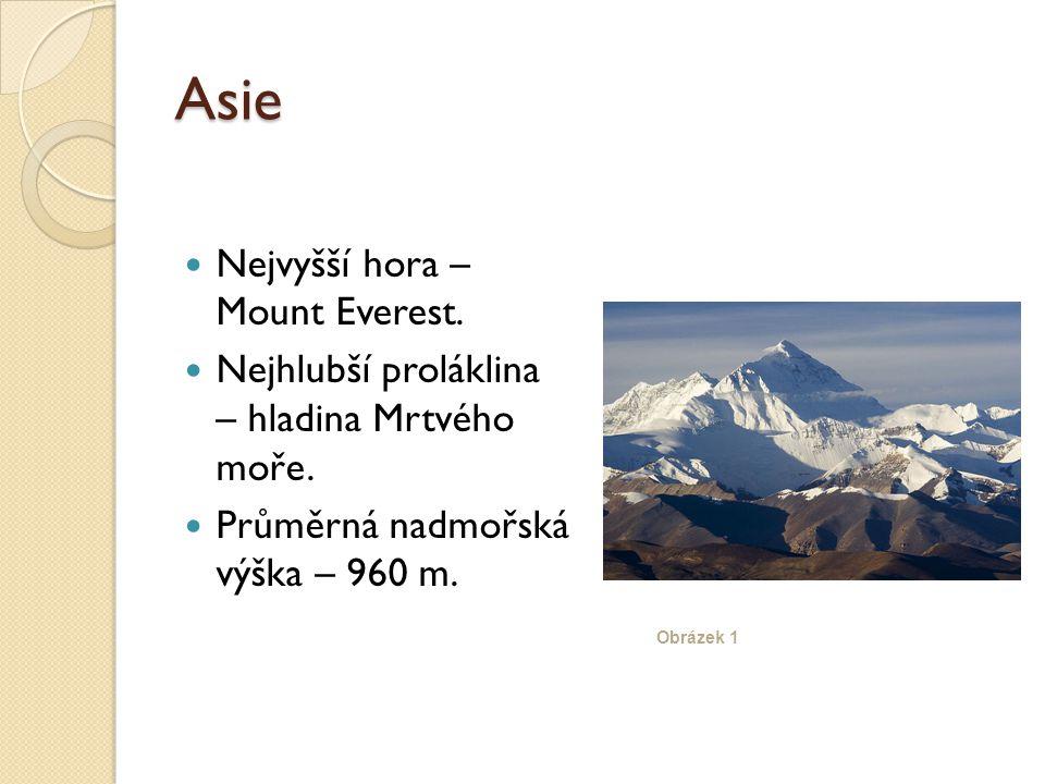 Asie Nejvyšší hora – Mount Everest. Nejhlubší proláklina – hladina Mrtvého moře.