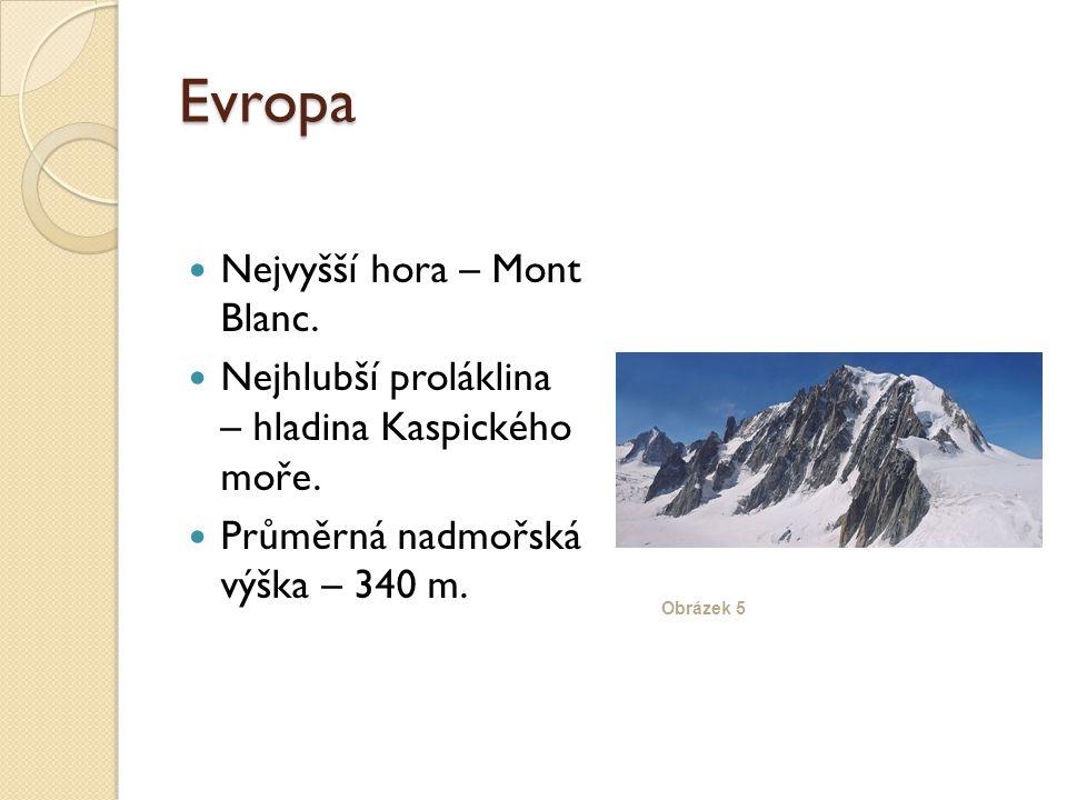 Evropa Nejvyšší hora – Mont Blanc. Nejhlubší proláklina – hladina Kaspického moře.
