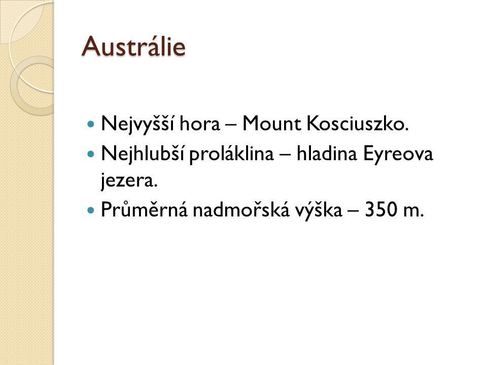 Austrálie Nejvyšší hora – Mount Kosciuszko. Nejhlubší proláklina – hladina Eyreova jezera.