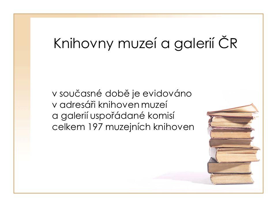 Knihovny muzeí a galerií ČR v současné době je evidováno v adresáři knihoven muzeí a galerií uspořádané komisí celkem 197 muzejních knihoven