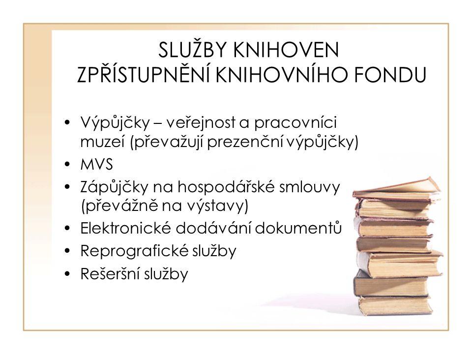 SLUŽBY KNIHOVEN ZPŘÍSTUPNĚNÍ KNIHOVNÍHO FONDU Výpůjčky – veřejnost a pracovníci muzeí (převažují prezenční výpůjčky) MVS Zápůjčky na hospodářské smlouvy (převážně na výstavy) Elektronické dodávání dokumentů Reprografické služby Rešeršní služby