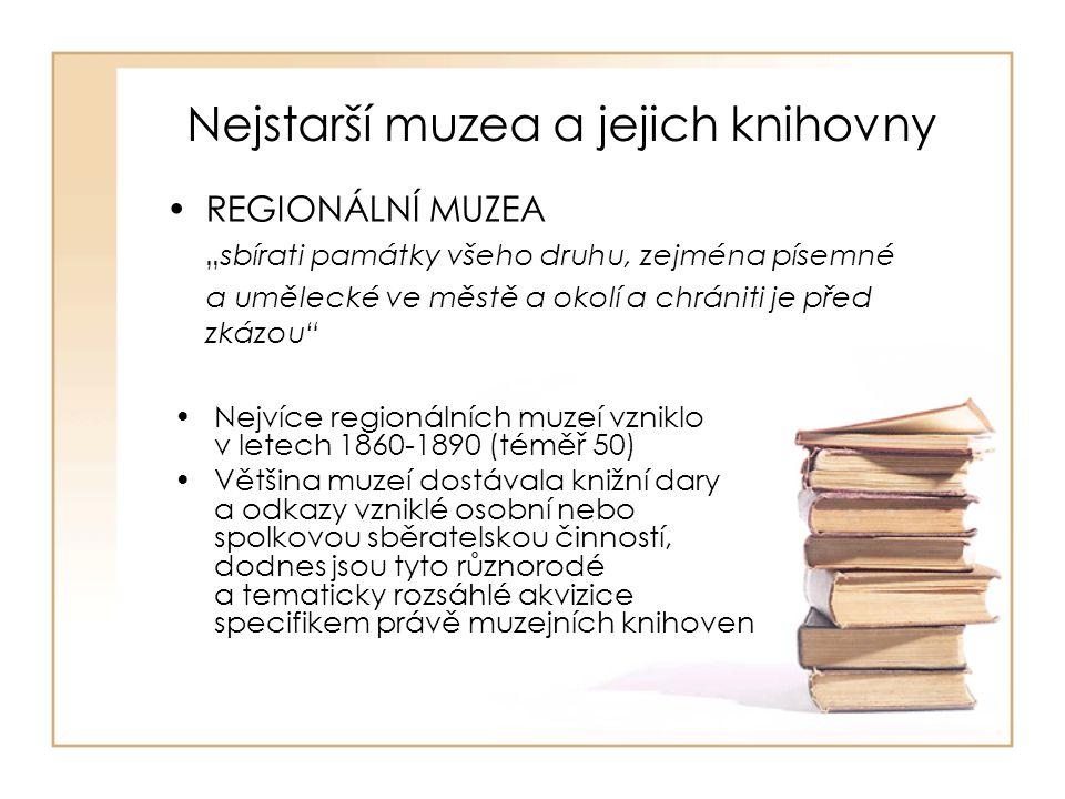 ZAMĚSTNANCI MUZEJNÍCH KNIHOVEN Poslední šetření v muzejních knihovnách v Čechách – ve 137 knihovnách 101,5 úvazku Vzdělání – 53 VŠ, 13 VOŠ, 69 SŠ, 2 jiné